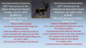 Ottawa: Commemoration of 102nd Anniversary of Battle of Beaumont-Hamel
