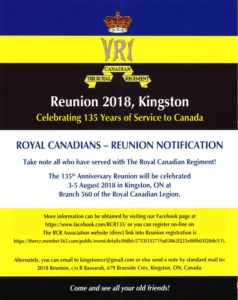 Kingston: RCR Reunion 2018: Celebrating 135 Years of Service to Canada (CIA)