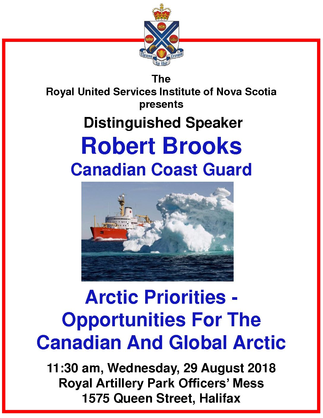 Halifax, Presentation:  Robert Brooks, CCG: Arctic Priorities: Opportunities for the Canadian & Global Arctic (RUSI NS)