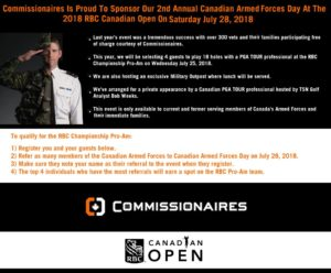 Oakville, Commissionaires Sponsor Canadian Armed Forces Day at the 2018 RBC Canadian Open (CCC)