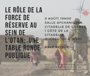 Quebec, Le Role de la Force de Reserve au Sein de l'OTAN (NAOC) @ Salle Afghanistan, Citadelle de Quebec