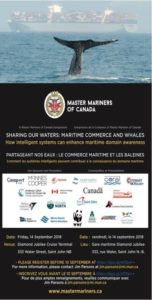 St John, NB: Master Mariners of Canada Symposium, Sharing our Waters: Maritime Commerce & Whales (RUSI NS) @ Diamond Jubilee Cruise Terminal
