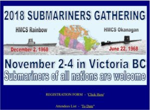 Victoria: Submariners Assoc of Canada, 2018 Submariner's Gathering (RUSI NS) @ Hotel Grand Pacific