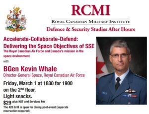 Toronto, BGen Kevin Whale (DG Space, RCAF), Accelerate-Collaborate-Defend (RCMI) @ RCMI