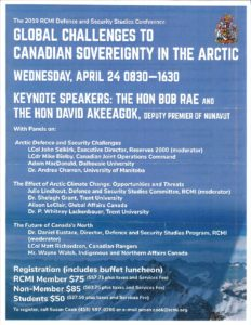 Toronto, Defence & Security Studies Conference, Hon Bob Rae (Keynote): Global Challenges to Canadian Sovereignty in the Arctic (RCMI) @ RCMI